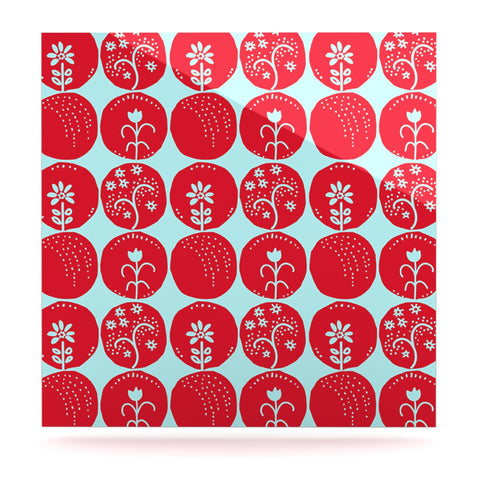 "Anneline Sophia ""Dotty Papercut Red"" Circles Blue Luxe Square Panel - KESS InHouse  - 1"