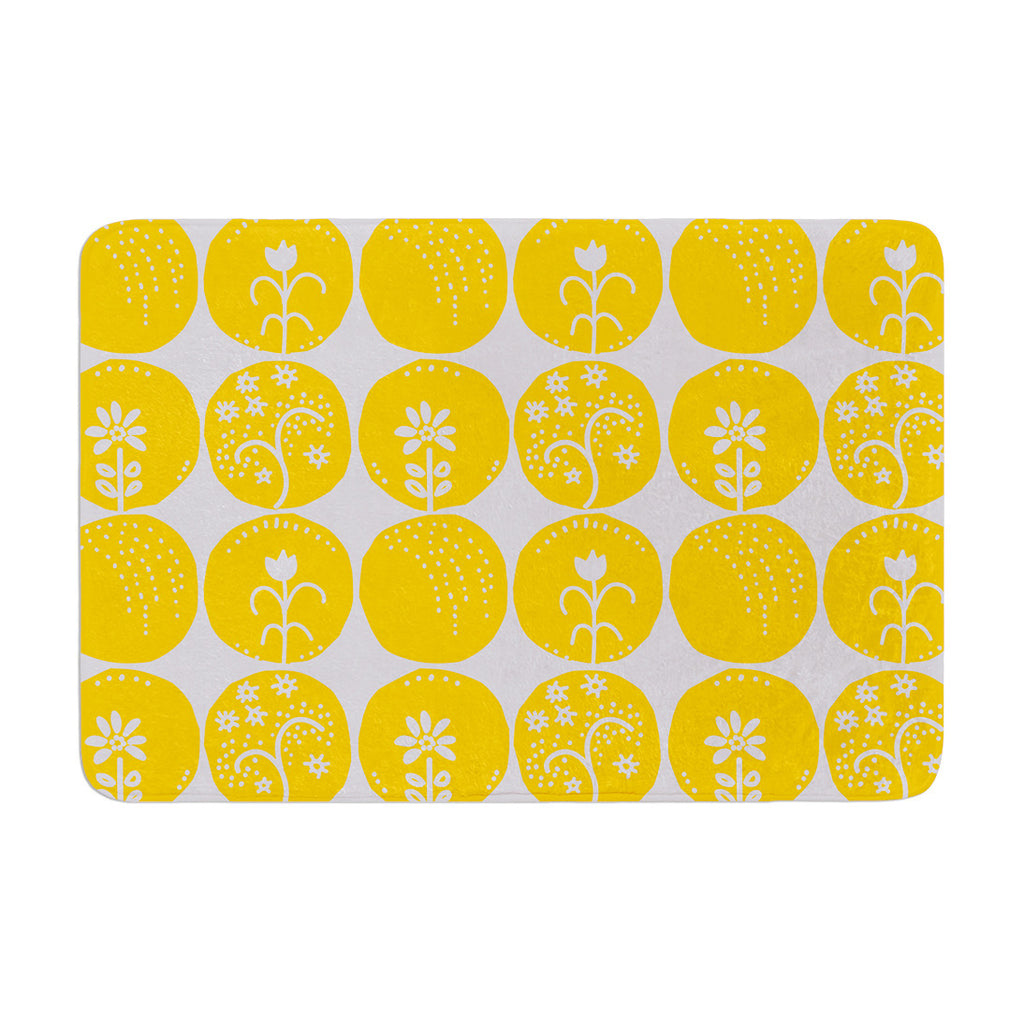 "Anneline Sophia ""Dotty Papercut Yellow"" Circles Gray Memory Foam Bath Mat - KESS InHouse"