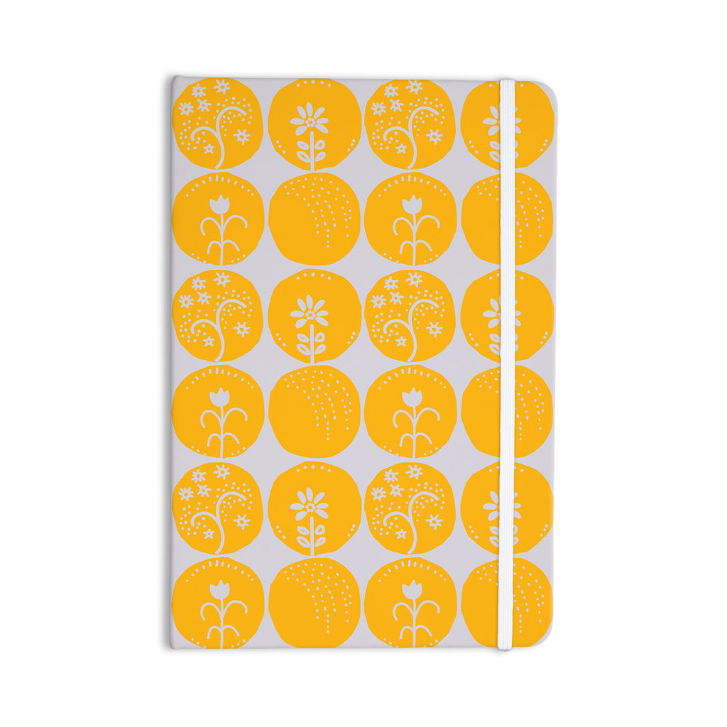 "Anneline Sophia ""Dotty Papercut Yellow"" Circles Gray Everything Notebook - KESS InHouse  - 1"