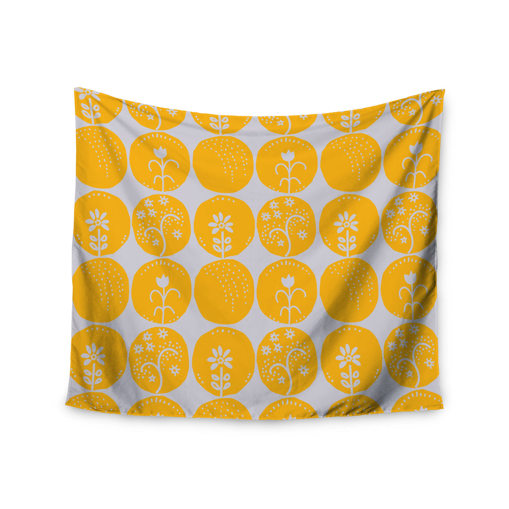 "Anneline Sophia ""Dotty Papercut Yellow"" Circles Gray Wall Tapestry - KESS InHouse  - 1"