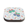 "Anneline Sophia ""Leafy Butterflies Pink"" Teal Butterfly Coasters (Set of 4)"