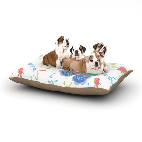 "Anneline Sophia ""Leafy Butterflies Pink"" Teal Butterfly Dog Bed - Outlet Item"