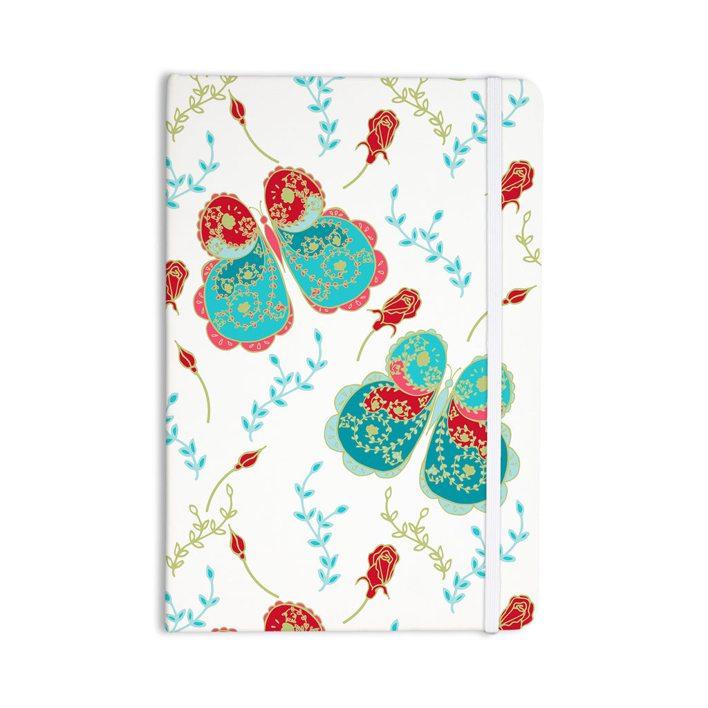 "Anneline Sophia ""Leafy Butterflies Red"" Aqua Butterfly Everything Notebook - KESS InHouse  - 1"