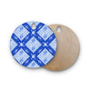 "Anneline Sophia ""Diamonds Blue"" Aqua White Round Wooden Cutting Board"