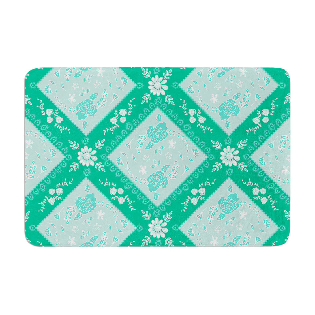 "Anneline Sophia ""Diamonds Mint"" Green Seafoam Memory Foam Bath Mat - KESS InHouse"