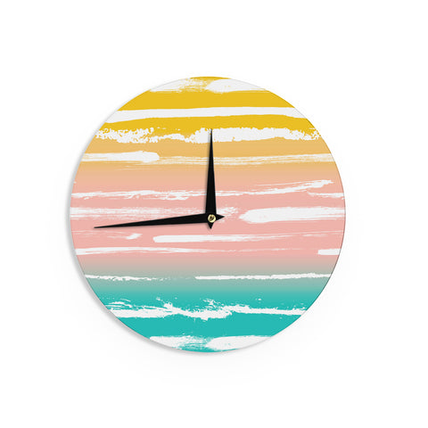 "Anneline Sophia ""Painted Stripes Peach"" Pink Teal Wall Clock - Outlet Item"