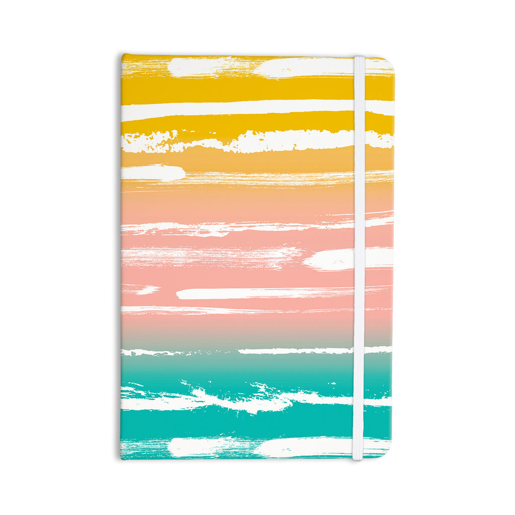 "Anneline Sophia ""Painted Stripes Peach"" Pink Teal Everything Notebook - KESS InHouse  - 1"