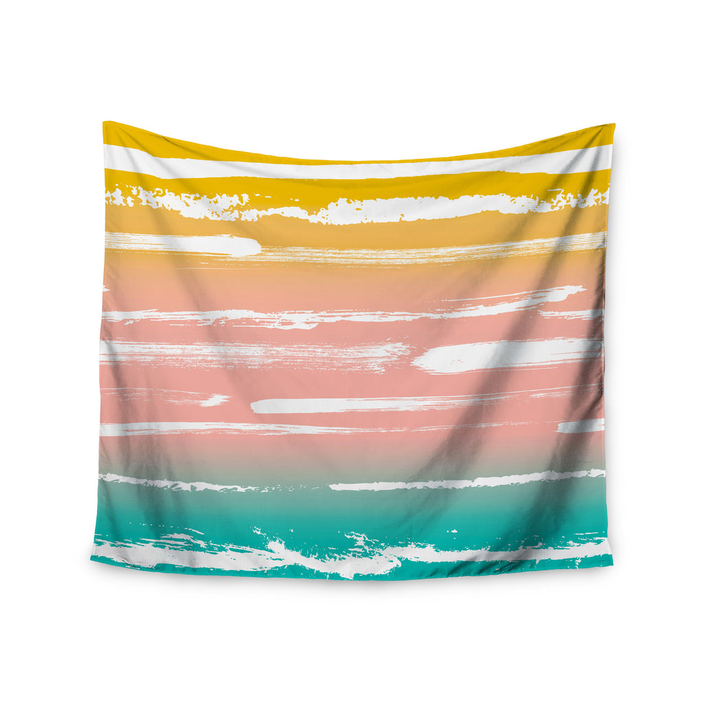 "Anneline Sophia ""Painted Stripes Peach"" Pink Teal Wall Tapestry - KESS InHouse  - 1"