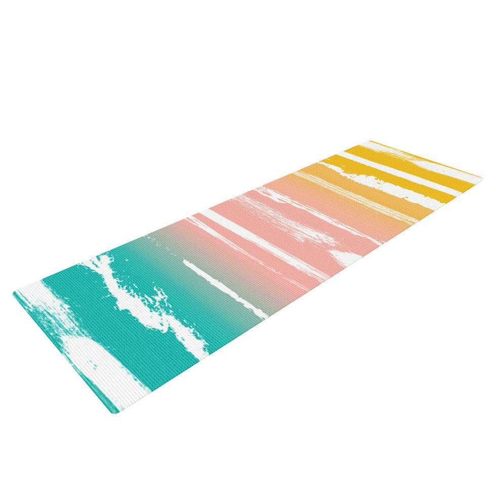 "Anneline Sophia ""Painted Stripes Peach"" Pink Teal Yoga Mat - KESS InHouse  - 1"