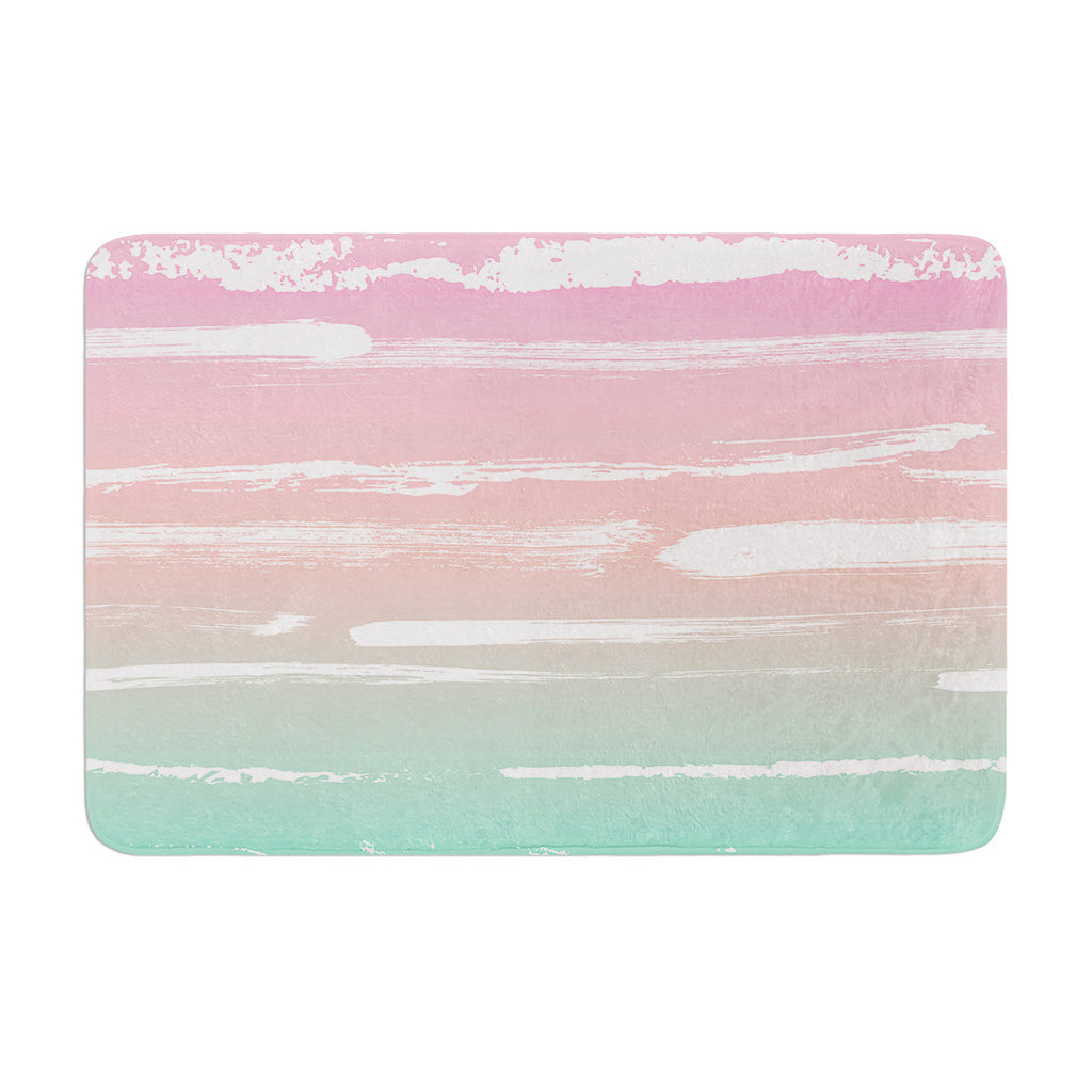 "Anneline Sophia ""Painted Stripes Pink"" Green Pink Memory Foam Bath Mat - KESS InHouse"
