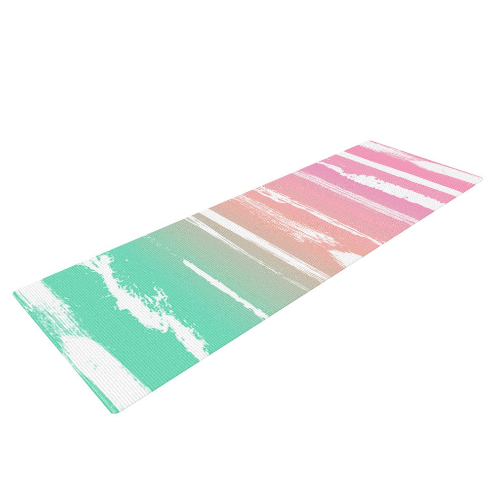 "Anneline Sophia ""Painted Stripes Pink"" Green Pink Yoga Mat - KESS InHouse  - 1"