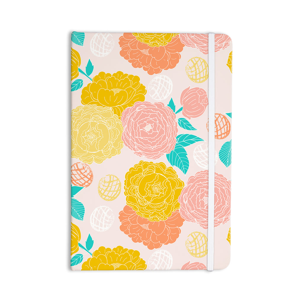 "Anneline Sophia ""Peonies Peach"" Yellow Pink Everything Notebook - KESS InHouse  - 1"