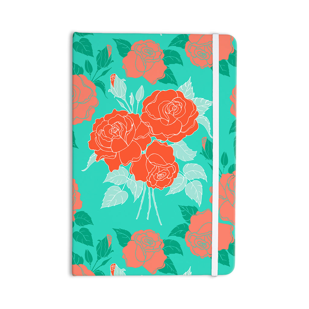 "Anneline Sophia ""Summer Rose Orange"" Teal Green Everything Notebook - KESS InHouse  - 1"