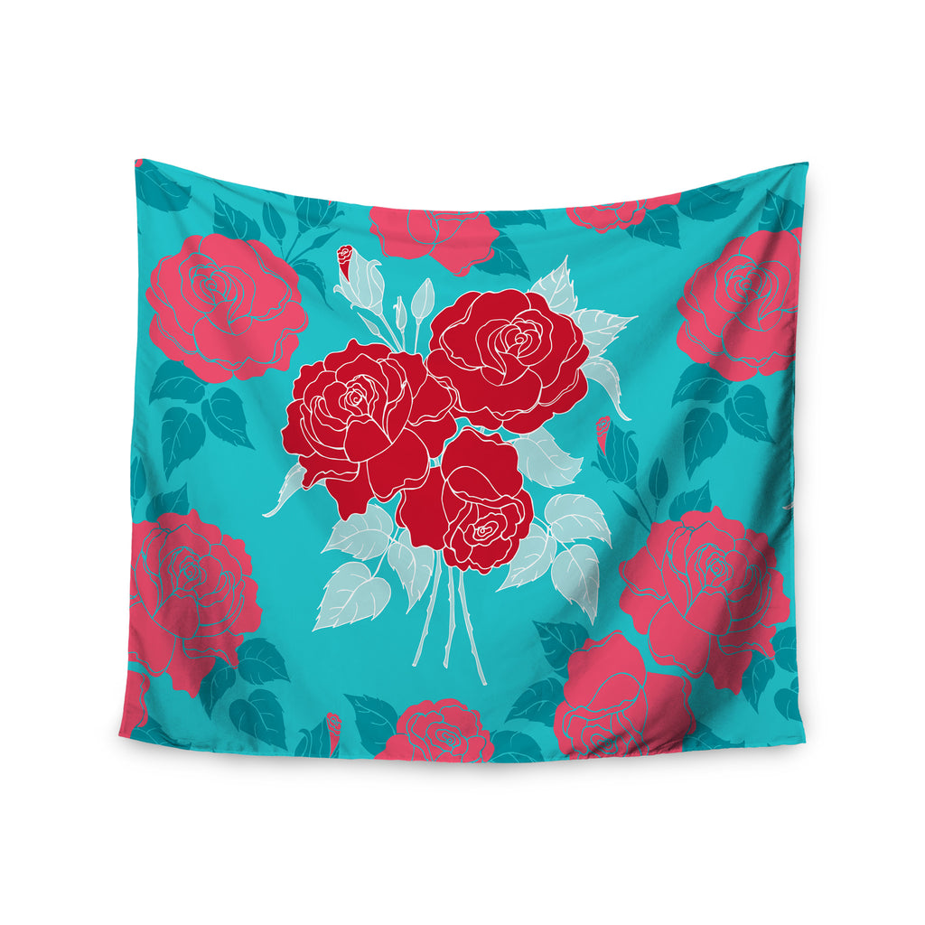 "Anneline Sophia ""Summer Rose Red"" Blue Aqua Wall Tapestry - KESS InHouse  - 1"