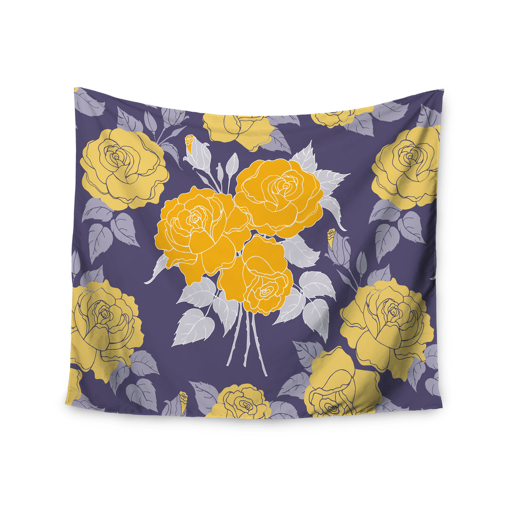 "Anneline Sophia ""Summer Rose Yellow"" Purple Lavender Wall Tapestry - KESS InHouse  - 1"