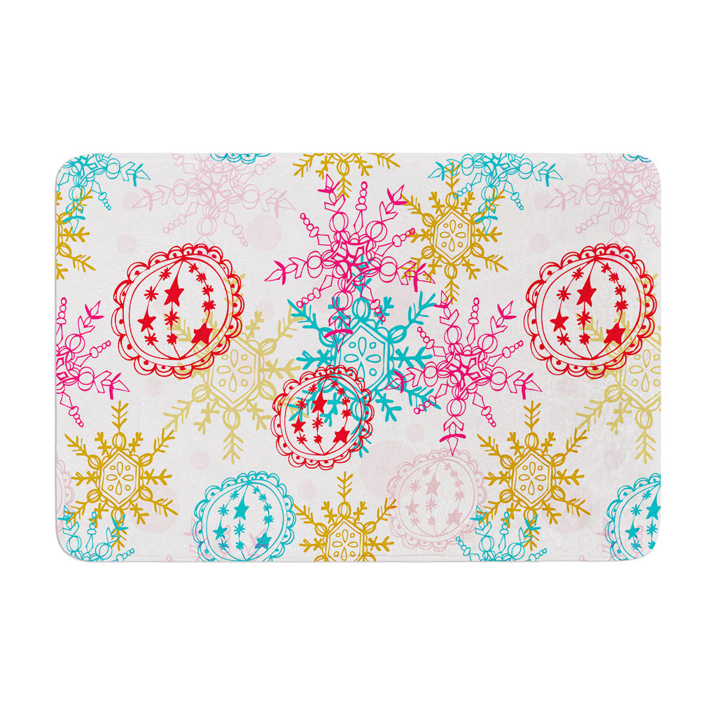 "Anneline Sophia ""Let It Snow"" Multicolor Memory Foam Bath Mat - KESS InHouse"