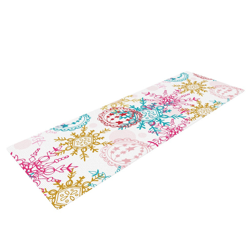 "Anneline Sophia ""Let It Snow"" Multicolor Yoga Mat - KESS InHouse  - 1"