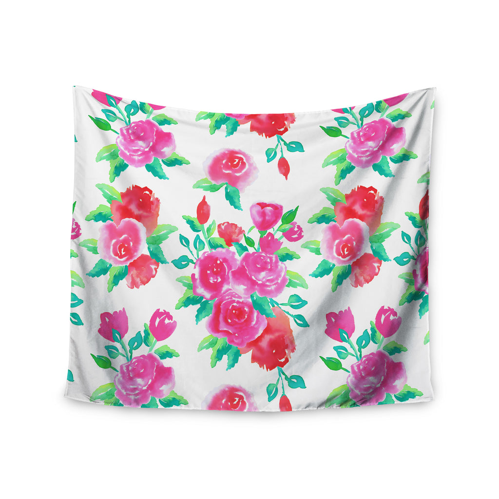 "Anneline Sophia ""Pink Roses"" Magenta Floral Wall Tapestry - KESS InHouse  - 1"