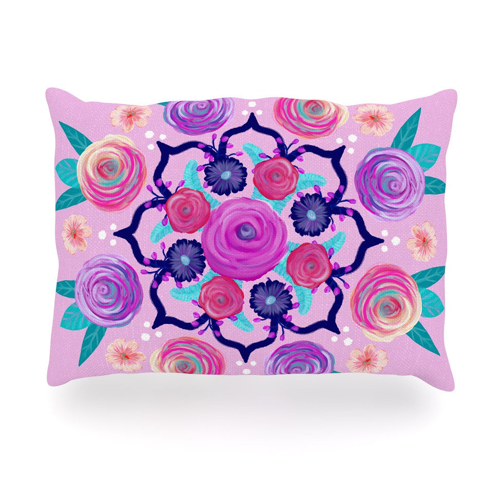 "Anneline Sophia ""Expressive Blooms Mandala"" Pink Floral Oblong Pillow - KESS InHouse"