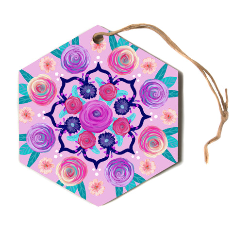 "Anneline Sophia ""Expressive Blooms Mandala"" Pink Floral Hexagon Holiday Ornament"