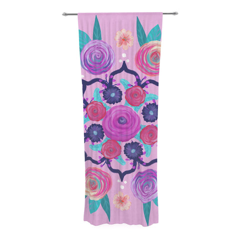 "Anneline Sophia ""Expressive Blooms Mandala"" Pink Floral Decorative Sheer Curtain - KESS InHouse  - 1"