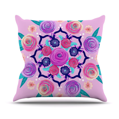 "Anneline Sophia ""Expressive Blooms Mandala"" Pink Floral Outdoor Throw Pillow - KESS InHouse  - 1"