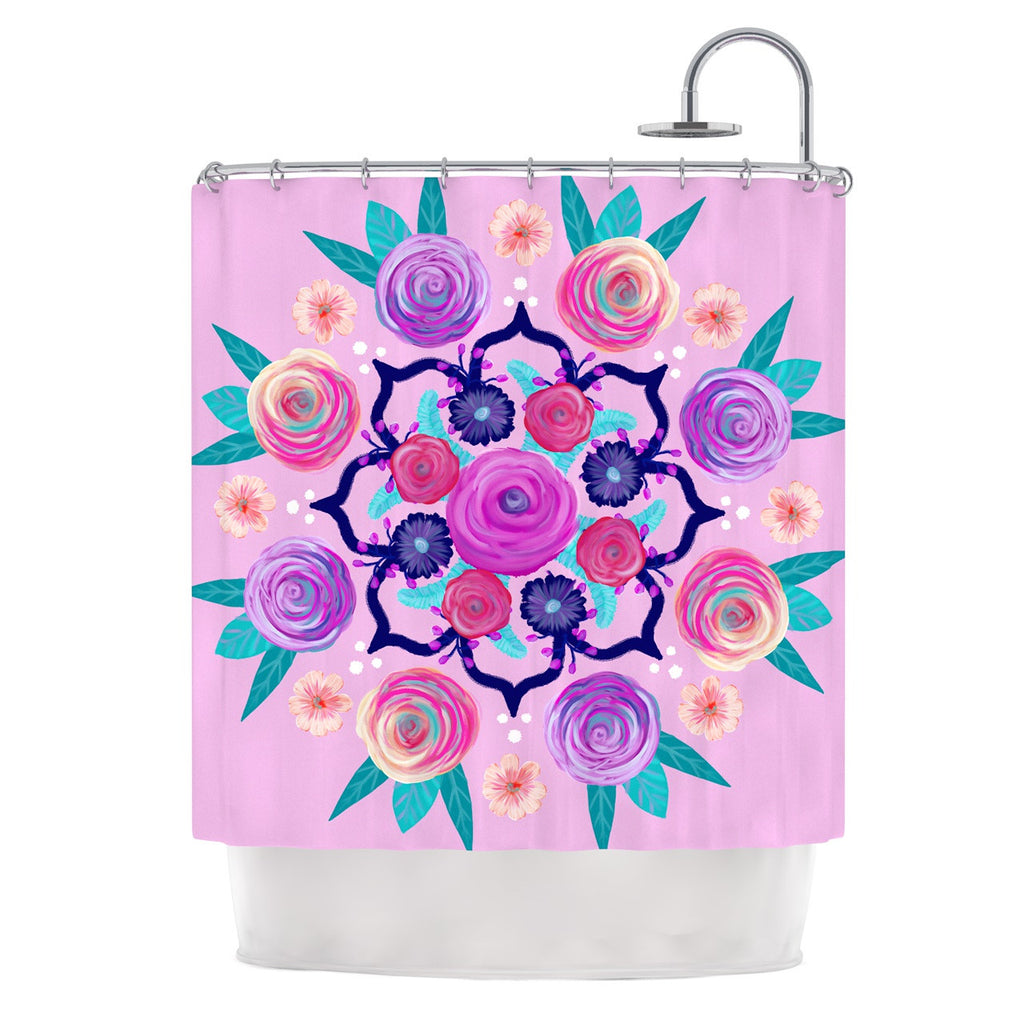 "Anneline Sophia ""Expressive Blooms Mandala"" Pink Floral Shower Curtain - KESS InHouse"