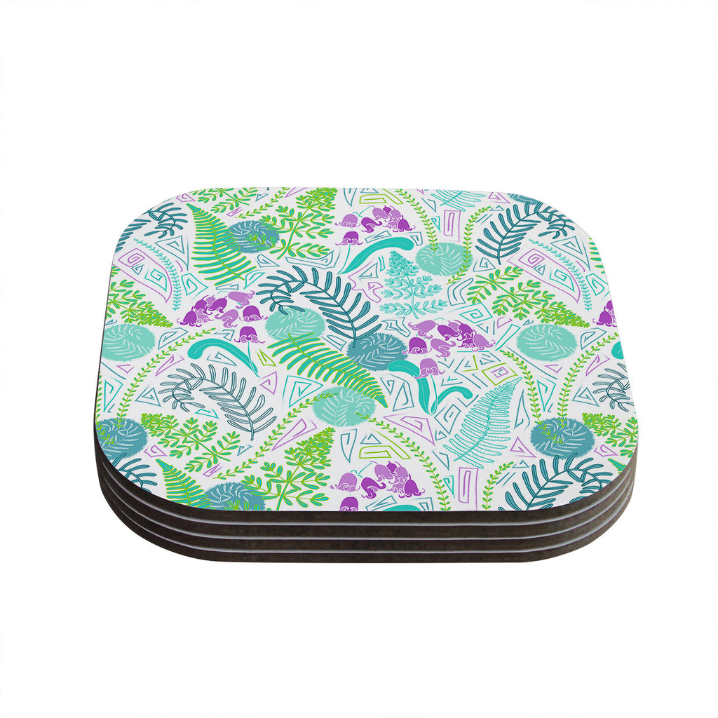"Anneline Sophia ""Fern Forest"" Blue Teal Coasters (Set of 4)"