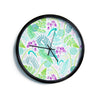 "Anneline Sophia ""Fern Forest"" Blue Teal Modern Wall Clock"