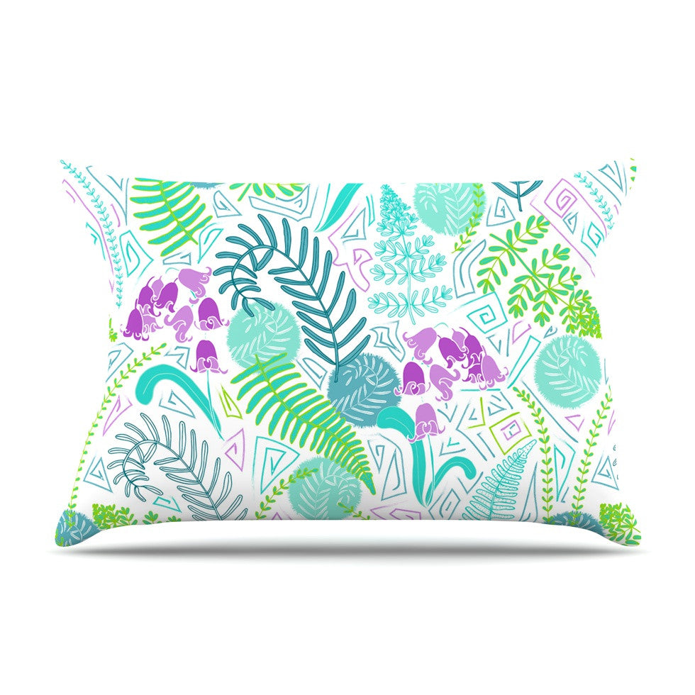"Anneline Sophia ""Fern Forest"" Blue Teal Pillow Sham - KESS InHouse  - 1"