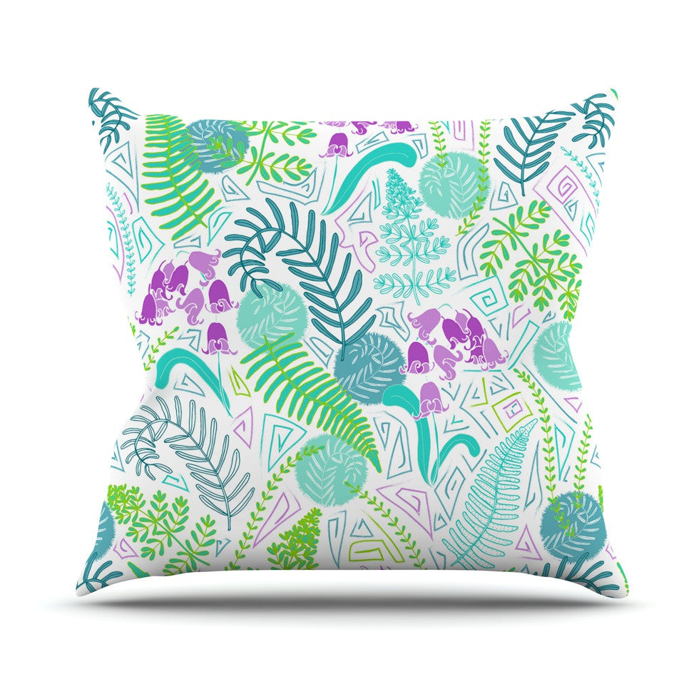 "Anneline Sophia ""Fern Forest"" Blue Teal Throw Pillow - KESS InHouse  - 1"