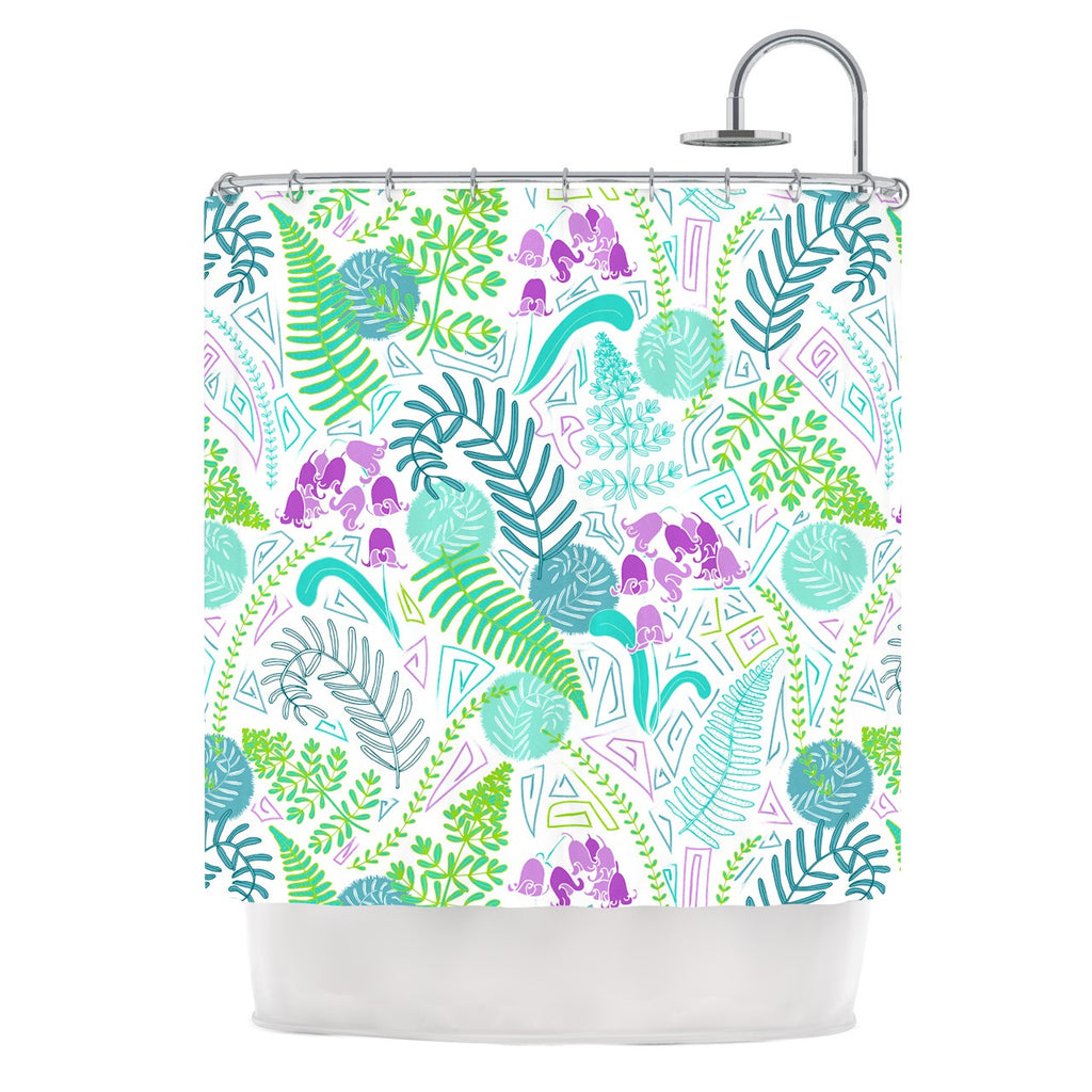 "Anneline Sophia ""Fern Forest"" Blue Teal Shower Curtain - KESS InHouse"