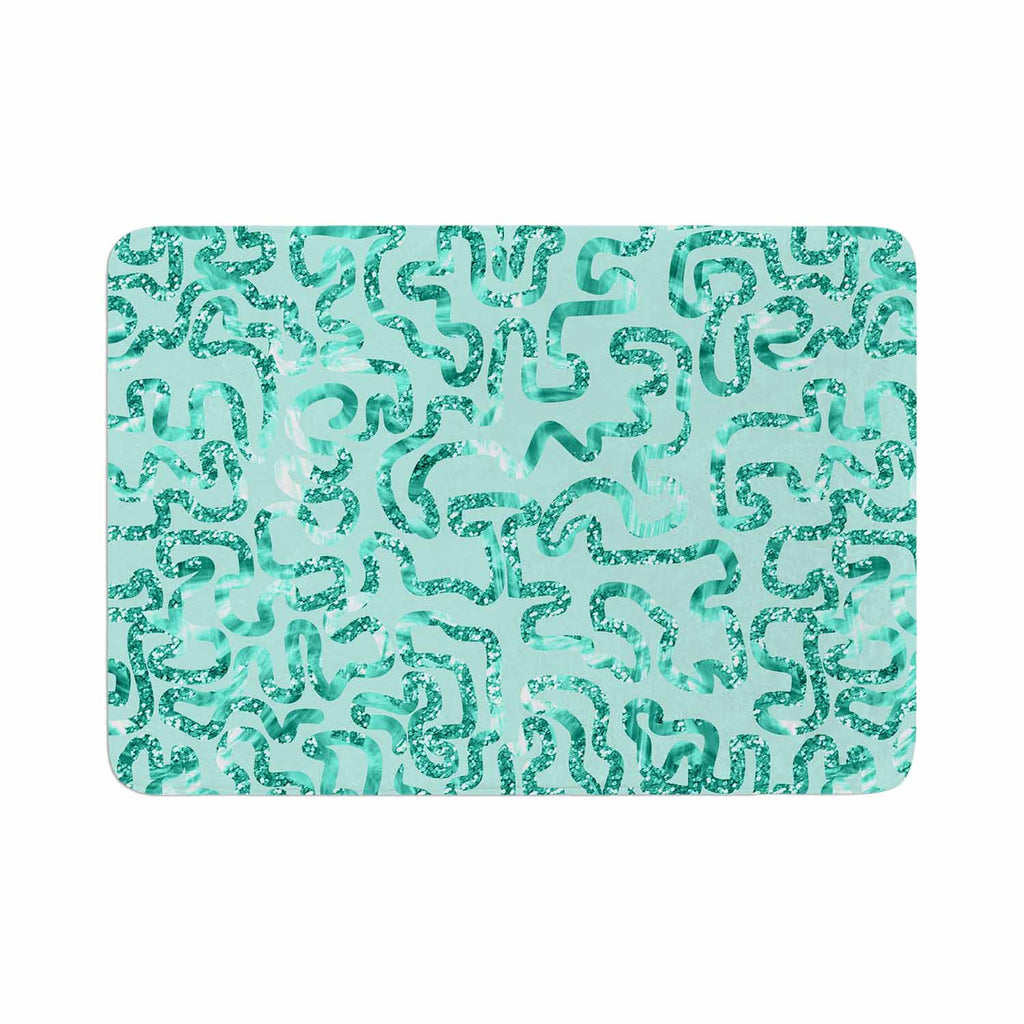 "Anneline Sophia ""Squiggles in Teal"" Green Abstract Memory Foam Bath Mat - KESS InHouse"