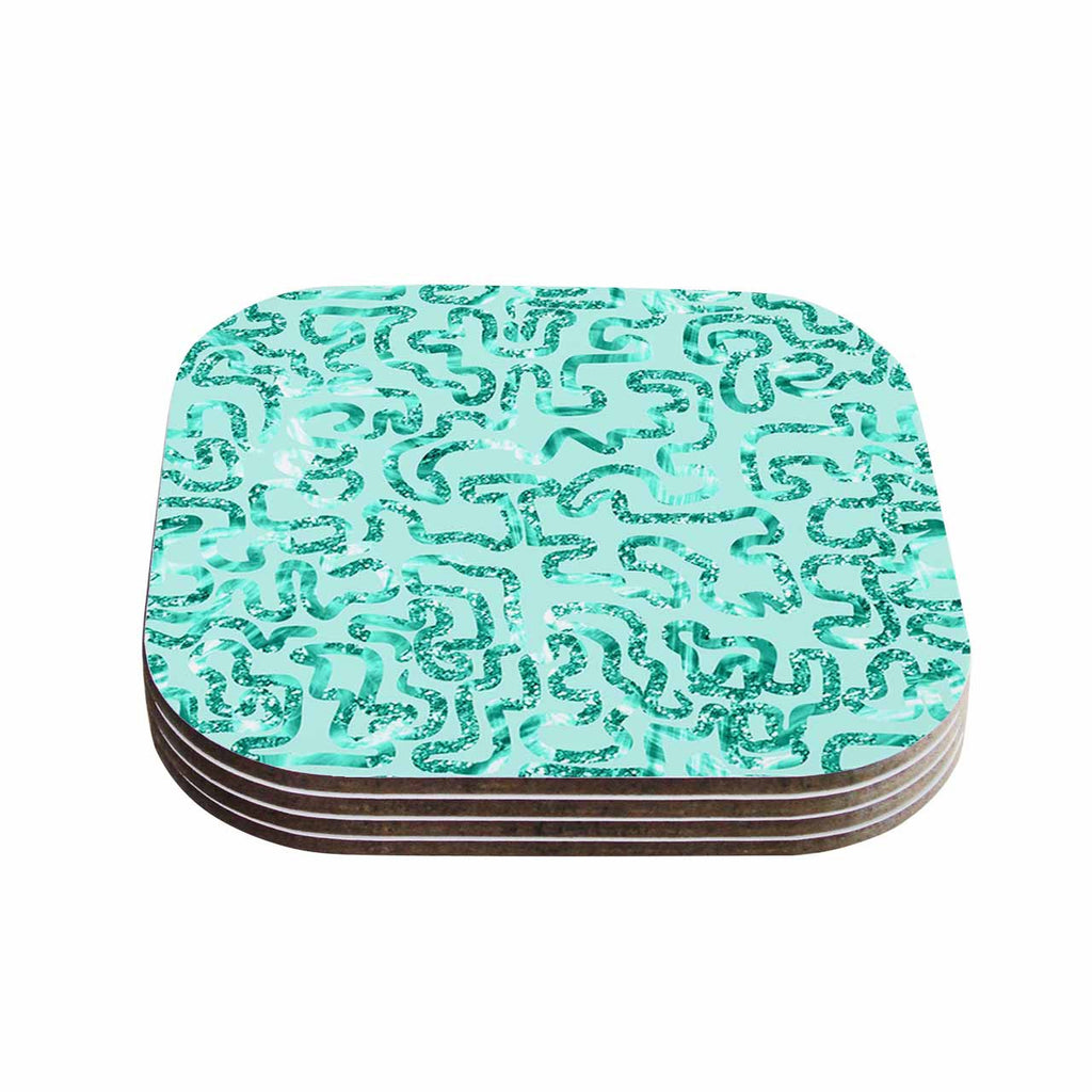 "Anneline Sophia ""Squiggles in Teal"" Green Abstract Coasters (Set of 4)"