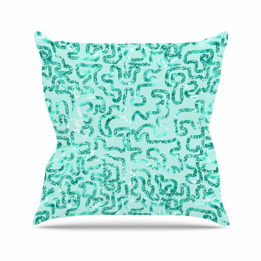 "Anneline Sophia ""Squiggles in Teal"" Green Abstract Outdoor Throw Pillow - KESS InHouse  - 1"