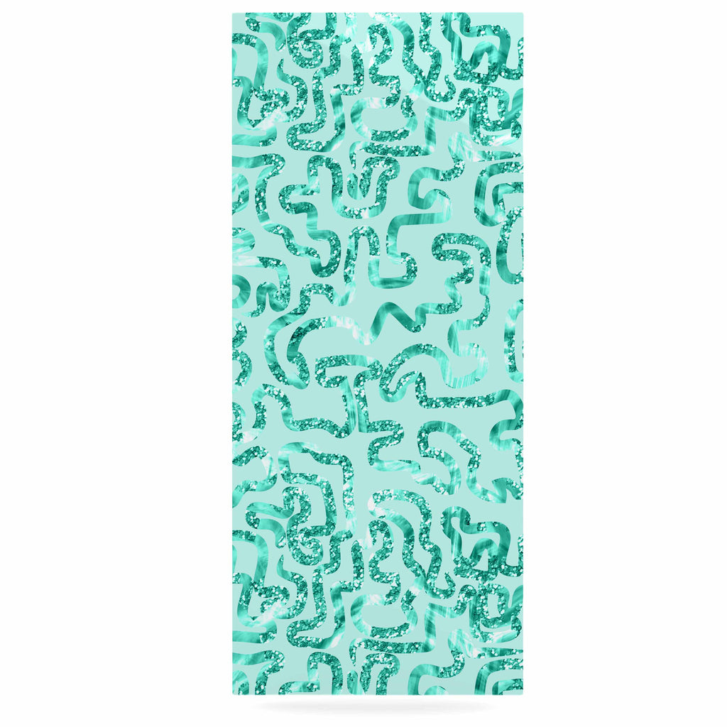 "Anneline Sophia ""Squiggles in Teal"" Green Abstract Luxe Rectangle Panel - KESS InHouse  - 1"