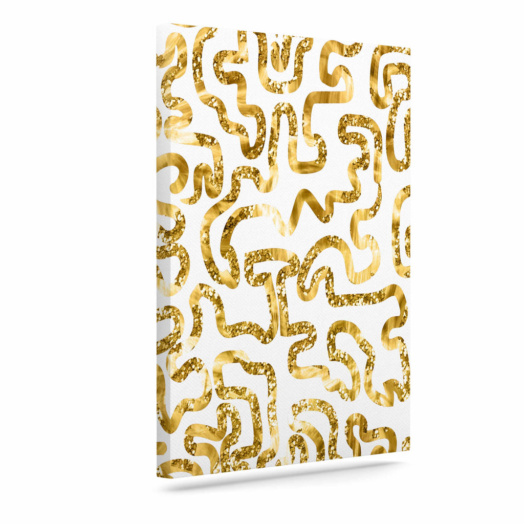 "Anneline Sophia ""Squiggles in Gold"" Yellow White Canvas Art - KESS InHouse  - 1"