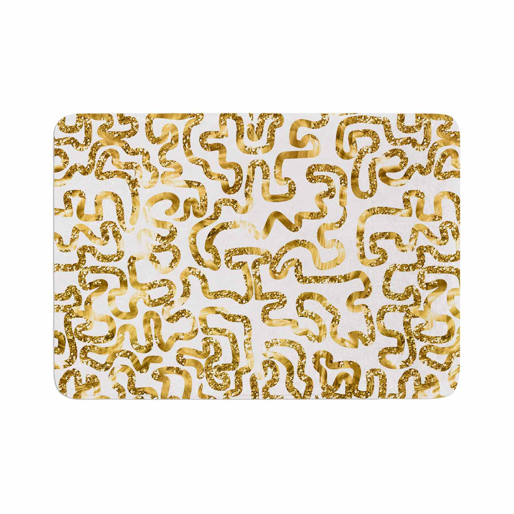 "Anneline Sophia ""Squiggles in Gold"" Yellow White Memory Foam Bath Mat - KESS InHouse"
