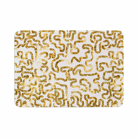 "Anneline Sophia ""Squiggles in Gold"" Yellow White Memory Foam Bath Mat - Outlet Item"