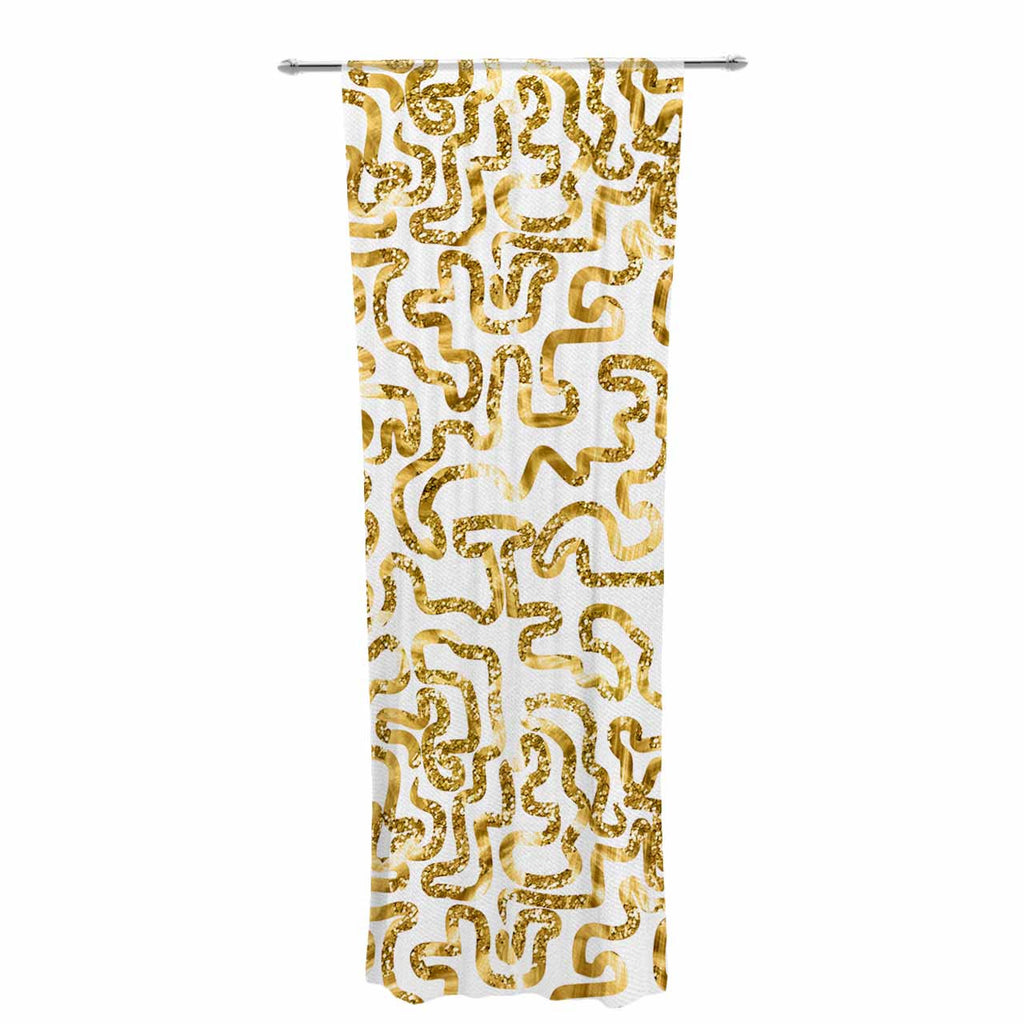 "Anneline Sophia ""Squiggles in Gold"" Yellow White Decorative Sheer Curtain - KESS InHouse  - 1"