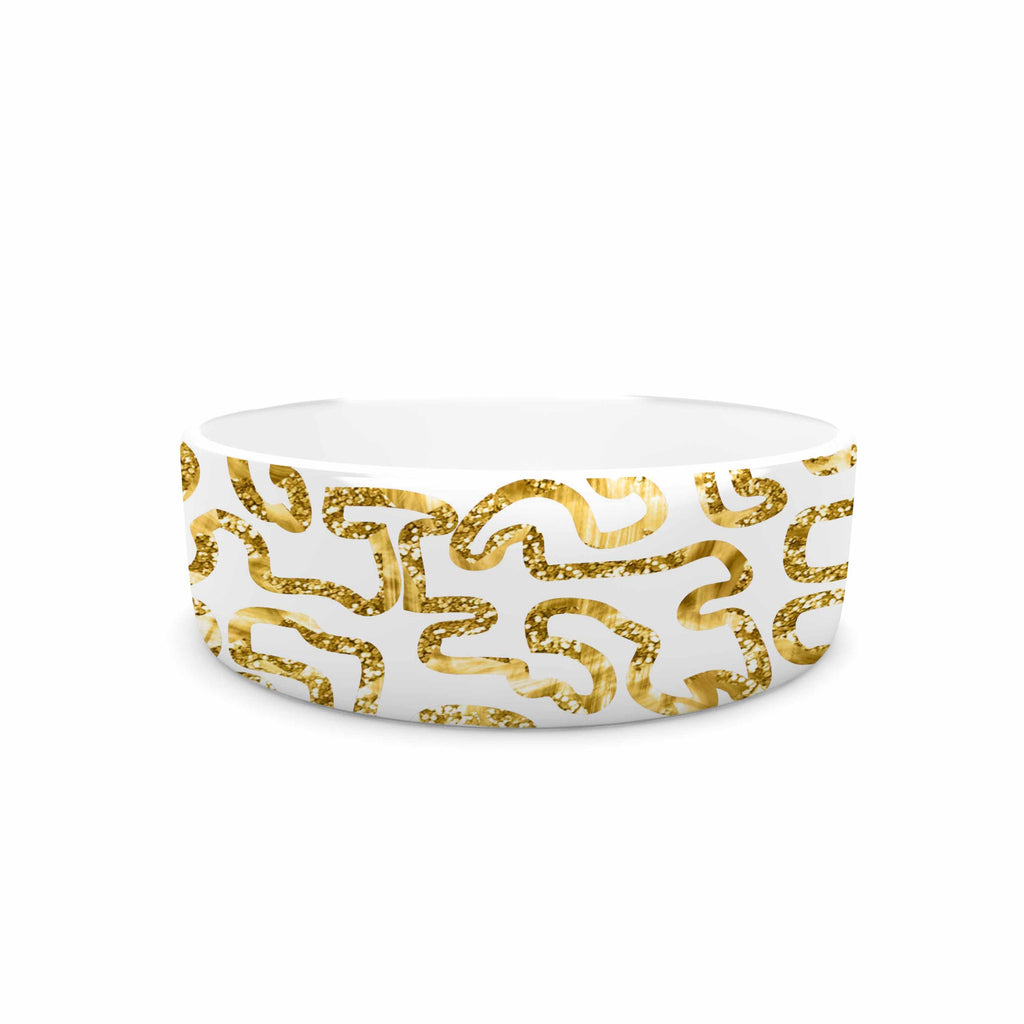 "Anneline Sophia ""Squiggles in Gold"" Yellow White Pet Bowl - KESS InHouse"