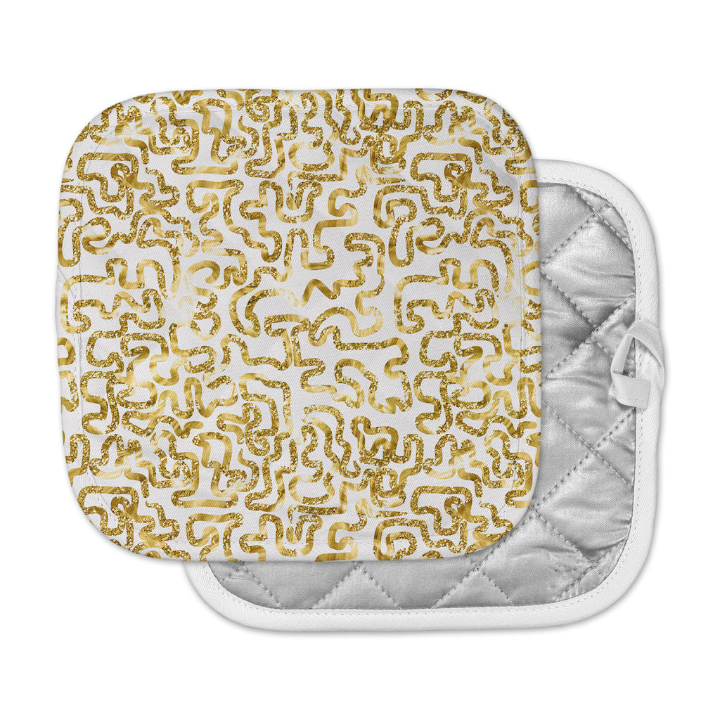 "Anneline Sophia ""Squiggles in Gold"" Yellow White Pot Holder"