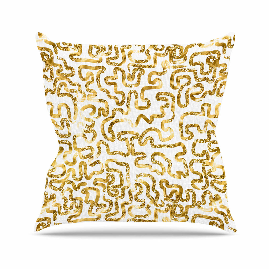 "Anneline Sophia ""Squiggles in Gold"" Yellow White Outdoor Throw Pillow - KESS InHouse  - 1"
