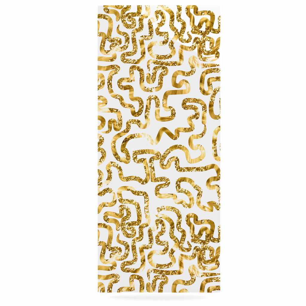 "Anneline Sophia ""Squiggles in Gold"" Yellow White Luxe Rectangle Panel - KESS InHouse  - 1"