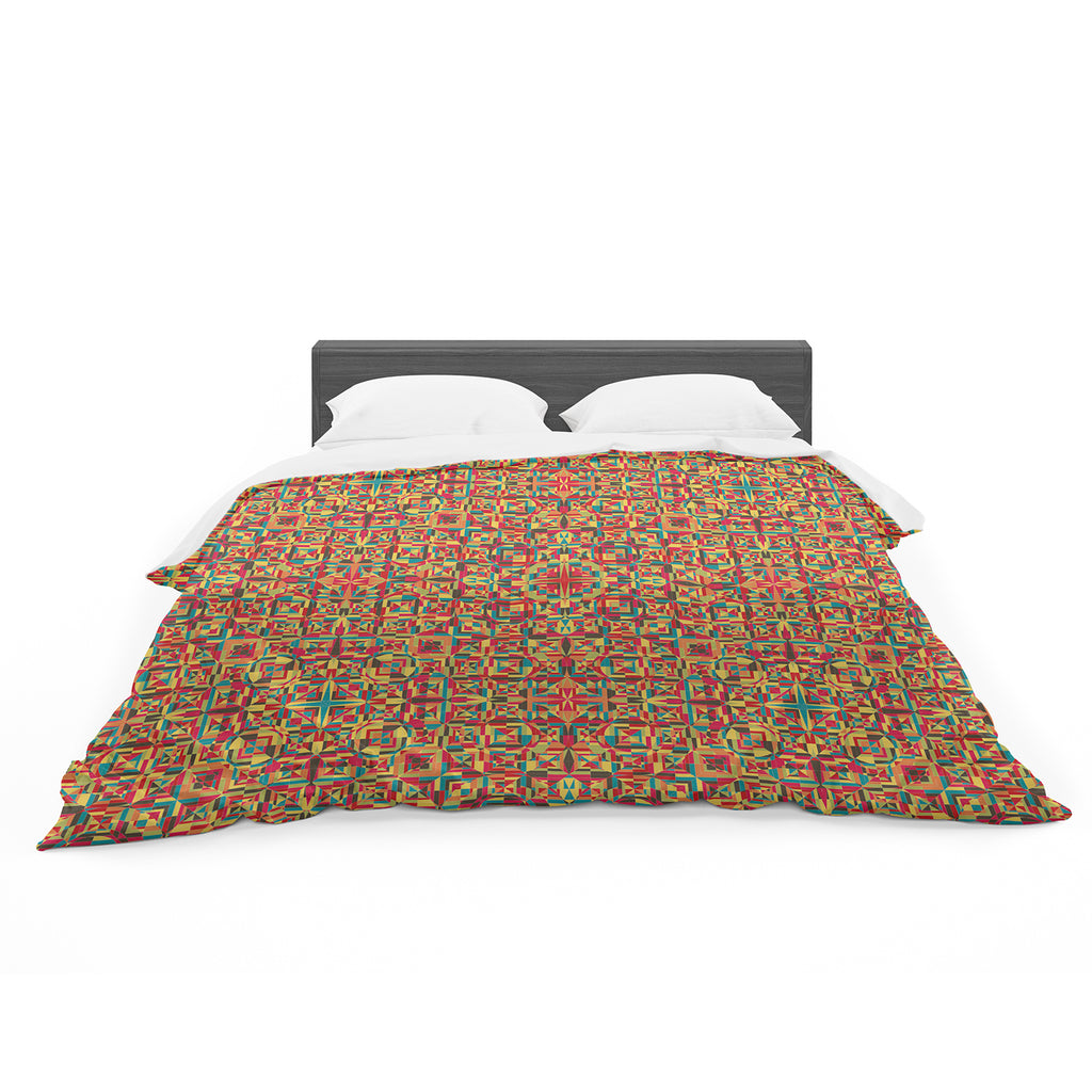 "Allison Soupcoff ""Circus"" Orange Featherweight Duvet Cover"