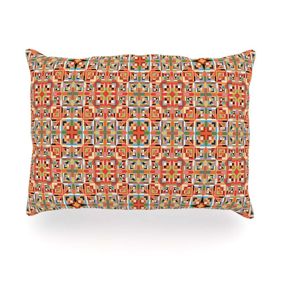 "Allison Soupcoff ""Henson"" Orange Green Oblong Pillow - KESS InHouse"