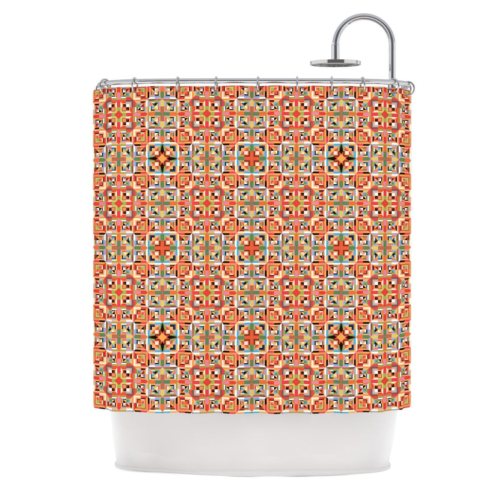"Allison Soupcoff ""Henson"" Orange Green Shower Curtain - KESS InHouse"