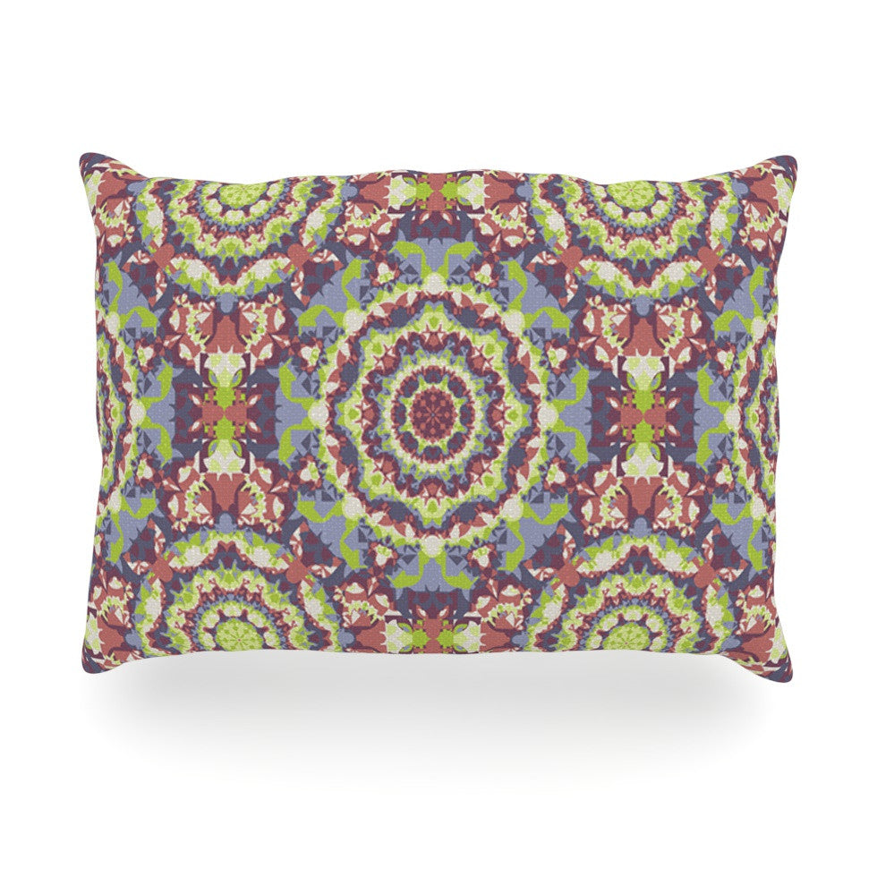 "Allison Soupcoff ""Plum Lace"" Green Purple Oblong Pillow - KESS InHouse"