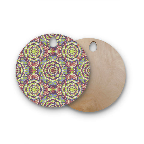 "Allison Soupcoff ""Plum Lace"" Green Purple Round Wooden Cutting Board"