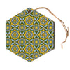 "Allison Soupcoff ""Sunflower"" Blue Yellow Hexagon Holiday Ornament"